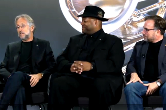 President/CEO Neil Portnow, five-time Grammy-winning record producer and chair emeritus Jimmy Jam and Academy Awards' Vice President Bill Freimuth participating in a live chat discussion on the day of the Grammy award scaleback.
