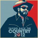 "Hank Williams, Jr. posts a mock political flyer done in the style of Barack Obama's infamous 2008 ""Hope"" campaign literature including the slogan ""Taking Back The Country 2012,"" with a poignant slash through the 0."