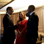 President Obama shakes hands with Beyonce' and Jay-Z at a private fundraiser held at Manhattan's 40/40 Club