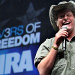 Ted Nugent addresses the crowd at a seminar held at the National Rifle Association.