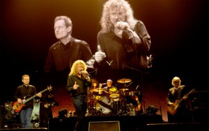 Band members of Led Zeppelin performing at London's 02 for Celebration Day concert in 2007.