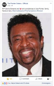 Post on the Pointer Sisters' official Facebook page announcing Dennis Edwards' death (Screenshot / Facebook )