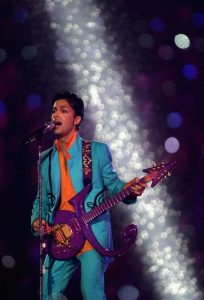 "Prince performs during the ""Pepsi Halftime Show"" at Super Bowl XLI between the Indianapolis Colts and the Chicago Bears on February 4, 2007 at Dolphin Stadium in Miami Gardens, Florida."