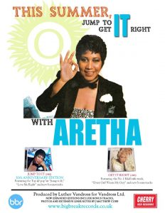 Promotional ad for Big Break Records reissues of Aretha Franklin's Jump to It & Get It Right.