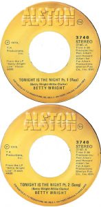 "The 7"" single of ""Tonight Is the Night"" cover bith A and B-sides. In total, the song plays for eight minutes."